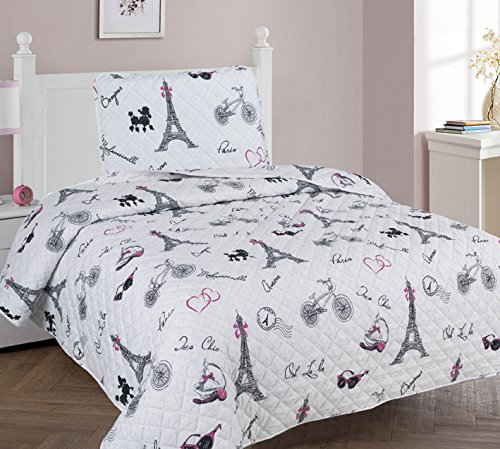 MB Home Collection Twin Size 2 pieces Printed Pink Hearts and Eiffel Tower Design Bedspread Quilt Set with Pillow sham # Twin 2 Pcs Paris ()
