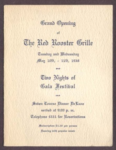 1938 Grille (Red Rooster Grille Grand Opening Menu 1938)