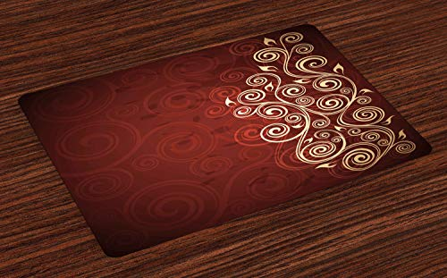 Ambesonne Burgundy Place Mats Set of 4, Floral Swirls Ivy Image with Ombre Details Grunge Backdrop Flower Artwork, Washable Fabric Placemats for Dining Table, Standard Size, Cream Ruby