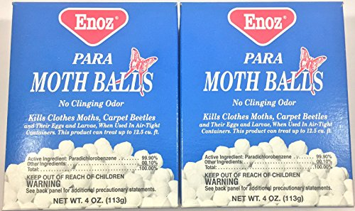 (2 Box Enoz Para MOTH BALLS old Fashioned Mothballs kills Clothes Moths)