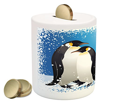 Ambesonne Winter Piggy Bank, Cute Penguins on Iceland at Arctic Snowy Frozen Climate Kids Illustration, Printed Ceramic Coin Bank Money Box for Cash Saving, Sky Blue White Black