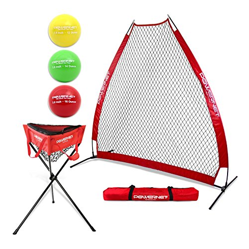 PowerNet Batting Practice Bundle – Protection Screen Softball Baseball Pitching Zippered Ball Caddy 3pk Progressive Training Balls