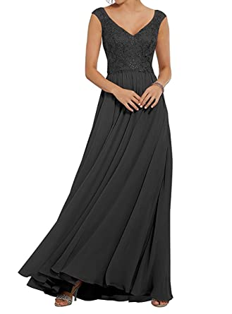 4d0d50e5366f Prom Dresses Long Bridesmaid Dress Cap Sleeve Lace Chiffon Party Formal  Evening Gowns Maxi Black