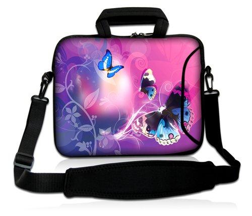 Luxburg® Design Funda bandolera Blanda Bolso Sleeve para Ordenador Portátil / MacBook de 17,3 pulgadas, motivo: Peces de colores Mariposas con luz rosa