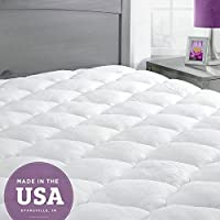 ExceptionalSheets Bamboo Mattress Pad with Fitted Skirt - Extra Plush Cooling Topper - Hypoallergenic - Made in the USA, Olympic Queen