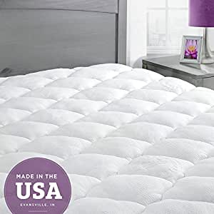 Bamboo Mattress Pad with Fitted Skirt - Extra Plush Cooling Topper - Hypoallergenic - Made in the USA, King