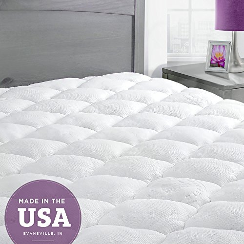 Bamboo Mattress Pad with Fitted Skirt - Extra Plush Cooling Topper - Hypoallergenic - Made in the USA, (Latex Bed)