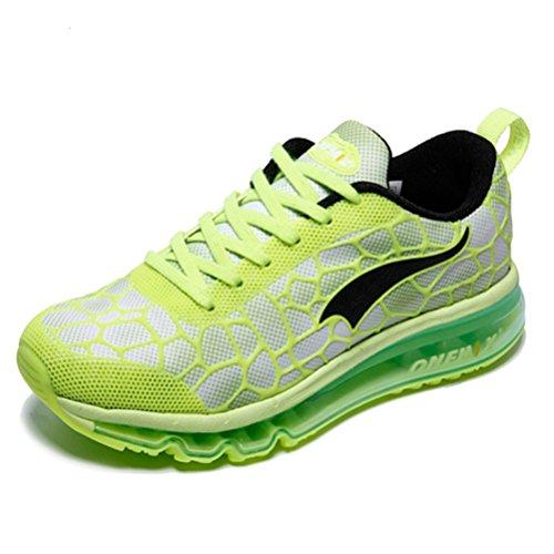 Yidiar Vrouwen Lichtgewicht Flexibel Luchtkussen Trail Loopschoenen Gym Outdoor Atletiekschoenen Sneakers Wit / Groen