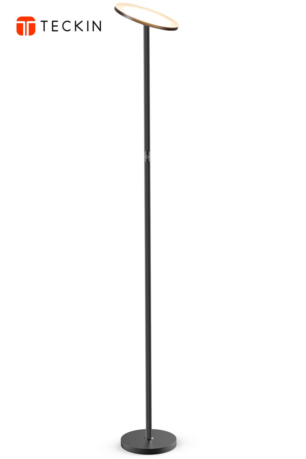 Floor Lamp, LED Torchiere Floor lamp, Tall Standing Uplight Industrial Floor Lamps Stepless Dimmable Modern Pole Floor Light for Living Room Offices Bedroom, TECKIN Daylight Floor Lights Black