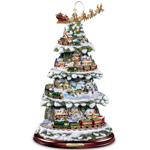 Thomas Kinkade Wonderland Express Animated Tabletop Christmas Tree With Train by Hawthorne - Tree Illuminated Kinkade Thomas