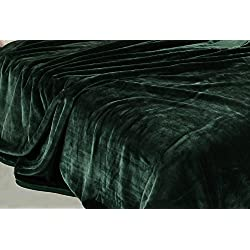 "Chezmoi Collection Heavy Thick One Ply Korean Style Fur Mink Blanket 9-Pound Oversized King 105x92"" (King, Green)"