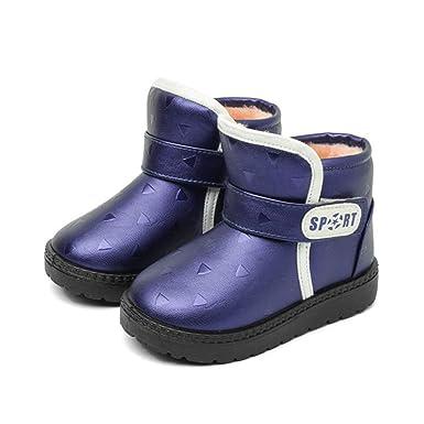 YanHoo Zapatos para niños Botas de Nieve de Invierno para niños y Botas de Terciopelo Antideslizantes calientan Zapatos Zapatos Niños Estudiantes Botas de ...
