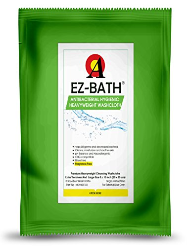 Antibacterial & Heavyweight Cleansing Cloths, Unscented (8 Sheets-8 Packs) by EZ-BATH
