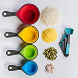 Set Of 8 Table Measuring Cups And Spoons Perfect For Delicious Cooking Or Baking Professional Measuring Dry And Liquid Ingredients Premium Food Grade Soft Silicone For Easy Grip