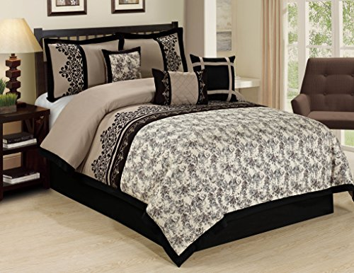 7 Piece LUPE crowded flower print Comforter Set- Queen King Cal.King Size (King) (Elegant Comforter Sets King)