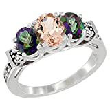10K White Gold Natural Morganite & Mystic Topaz Ring 3-Stone Oval Diamond Accent, size 8