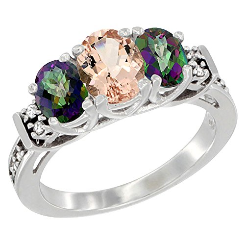 10K White Gold Natural Morganite & Mystic Topaz Ring 3-Stone Oval Diamond Accent, size 8 by Silver City Jewelry