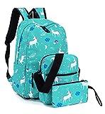 Leaper Unicorn Backpack for Girls Laptop Backpack School Bag Travel Daypack Bookbag Shoulder Bag Pencil Case Water Blue