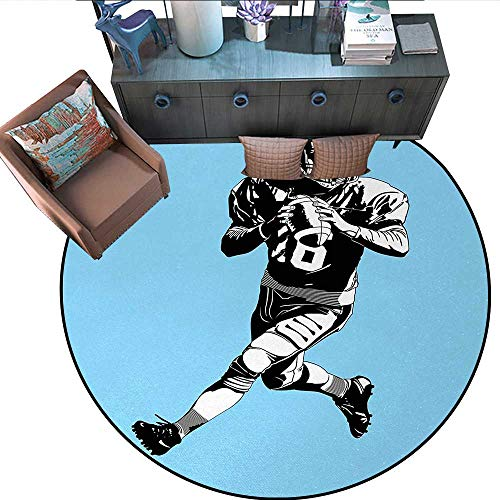 Black Rugby Tufted Hand - Sports Circle Rugs American Football League Game Rugby Player Run Original Retro Illustration Living Dining Room Bedroom Hallway Office Carpet (67
