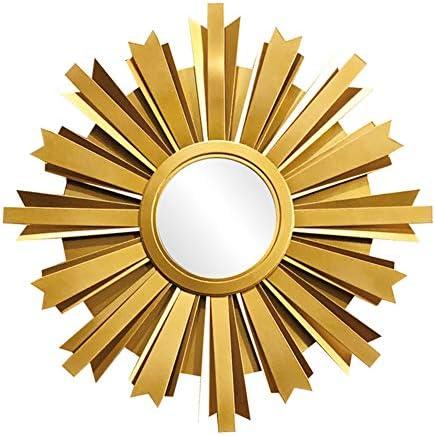 黄金朝陽壁掛け鏡、装飾鏡、手彫りの丸いサングラス、リビングルーム、寝室、ポーチ、背景の壁に適しています