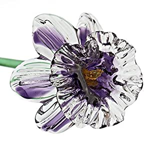 "Violet Glass Daffodil Flower, One-of-a-kind. Life Size 20"" long. FREE SHIPPING to the lower 48 when you spend over $35.00 15"
