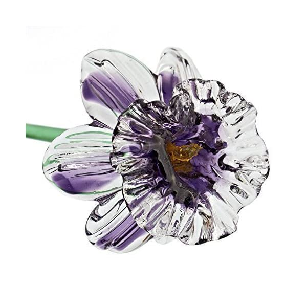 Violet Glass Daffodil Flower, One-of-a-kind. Life Size 20″ long. FREE SHIPPING to the lower 48 when you spend over $35.00