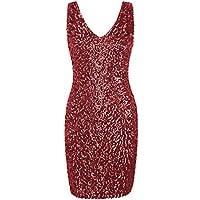 PrettyGuide Women Sexy Deep V Neck Sequin Glitter Bodycon Stretchy Mini Party Dress Red L