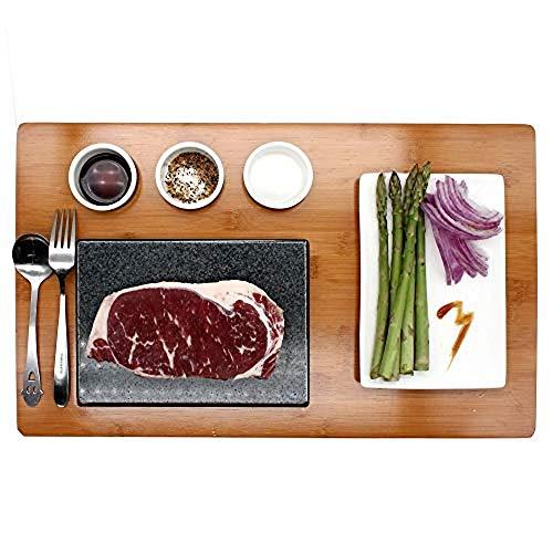 Hot rotisserie kit cooking stone steak set black rock oven lava grill pan steak stone steak stone home 1 x bamboo 7 piece set steak stone set black lava stone