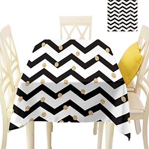 - Bohodecor Chevron Tablecloths, Zig Zag Symmetric Pattern with Gold Polka Dots Rounds Modern Minimalist Design Rectangular Fabric Table Cloths for Dining Room Kitchen, 60'' x 84'' Black White