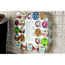 Cafe Wall Caddy (white) - Holds Up to 22 Keurig K-Cup Coffee or Tea Pods - Use Existing Outlet Cover to Free up Counter Space - Leaves No Wall Damage