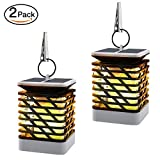 Solar Flame Lights[2PCS], MoKo Waterproof LED Solar Powered Flickering Flame Torch Lights Outdoor Hanging Decorative Lighting for Festival Garden Lawn Landscape Fence Street Decor, Auto On/Off – BLACK