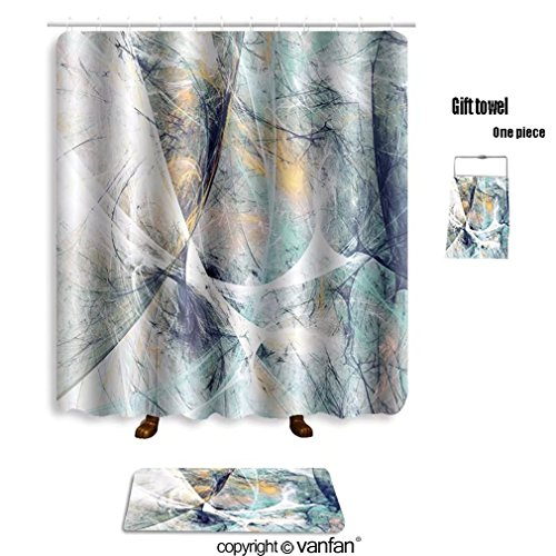 Vanfan Bath Sets With Polyester Rugs And Shower Curtain Abstract Beautiful Blue White Soft Color