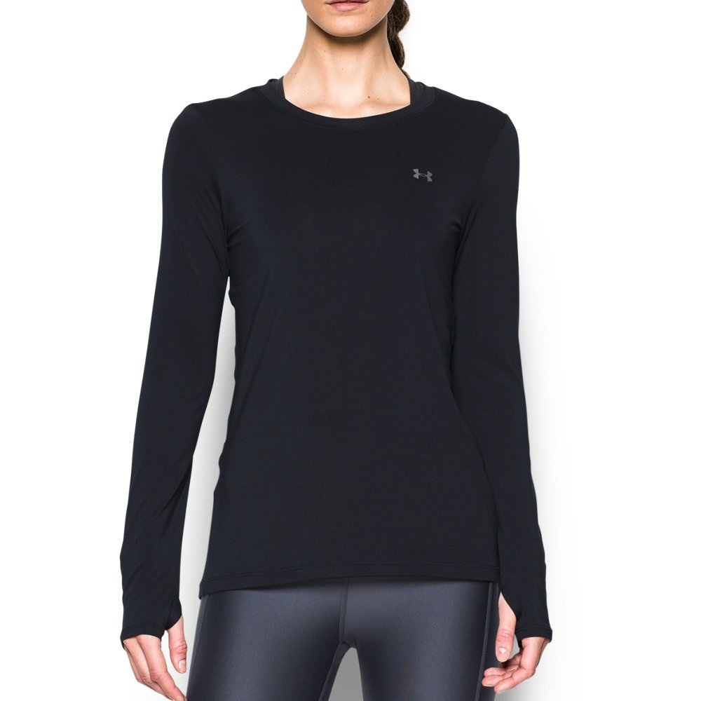 Under Armour Women's HeatGear Armour Long Sleeve, Black/Metallic Silver, Medium