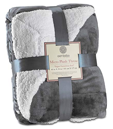 Genteele Sherpa Throw Blanket Super Soft Reversible Ultra Luxurious Plush Blanket (40 inches X 50 inches, Gray)