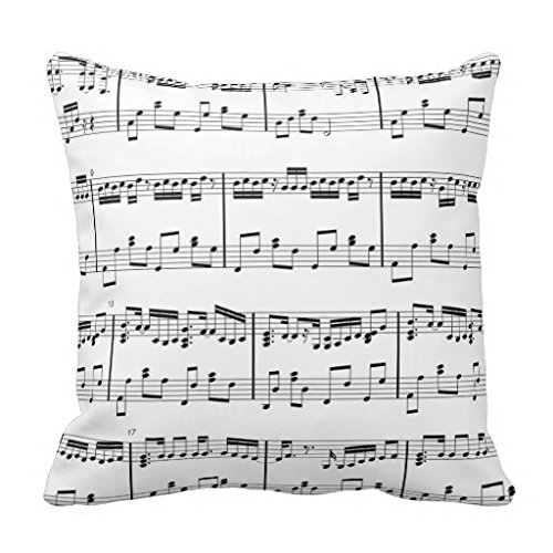 "Dkisee Sheet Music Black And White Throw Pillow Cover Cushion Case 18"" 4"