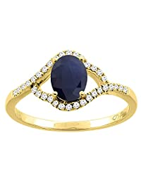 14K Gold Diamond Natural HQ Blue Sapphire Engagement Ring Oval 7x5 mm, sizes 5 - 10