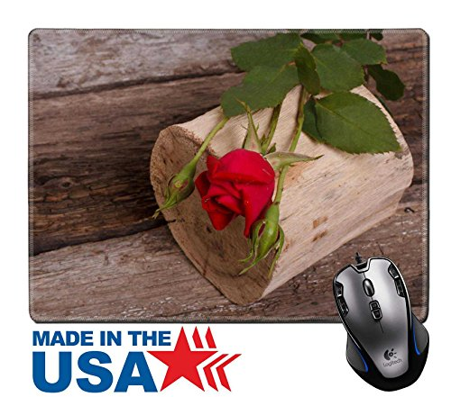 "MSD Natural Rubber Mouse Pad/Mat with Stitched Edges 9.8"" x 7.9"" Beautiful red rose with buds on old wooden log 20979611 Customized Desktop Laptop Gaming Mouse Pad (Compote Edge)"
