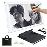 Yaufey A3 LED Light Box Copy Board, 10 Levels Touch Adjustable Copy Pad for Artist Craft Design Photo Drawing Pad with Holder, Carry Bag and Glove (USB Power - White)