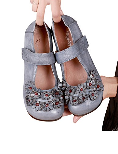 Youlee Femmes Fleurs Velcro Cuir Appartement Chaussures