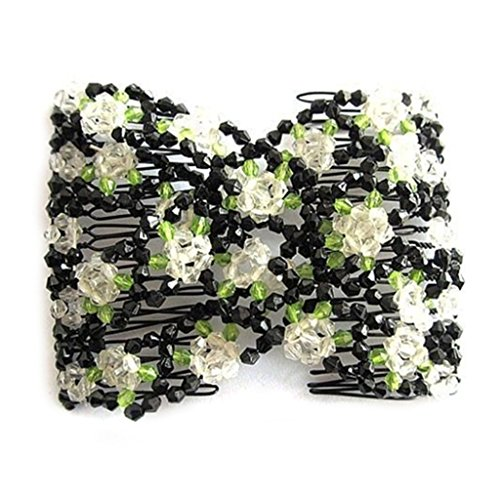 super1798 Women's Chic Stretch Rose Flower Bow Beaded Hair Comb Cuff Double Insert Clips - White (Blossom Beaded)