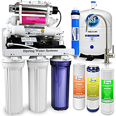 iSpring RCC1UP-AK 7-Stage Residential Under-Sink Reverse Osmosis Water Filter System w/ Booster Pump, Alkaline Remineralization Filter, and UV Sterilizer