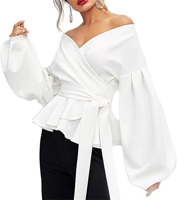 SXZG Camisa de Cintura con Lazo Camisa de Mujer Camisa ...
