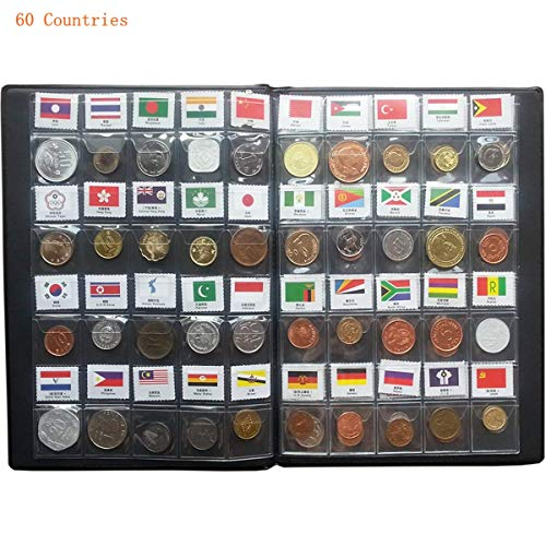 60 Countries Coins Collection Set Fine Coins 100% Original Genuine World Coin with Leather Collecting Album Taged by Country Name and Flag (60 Countries Coins Album) by Suser Bellor