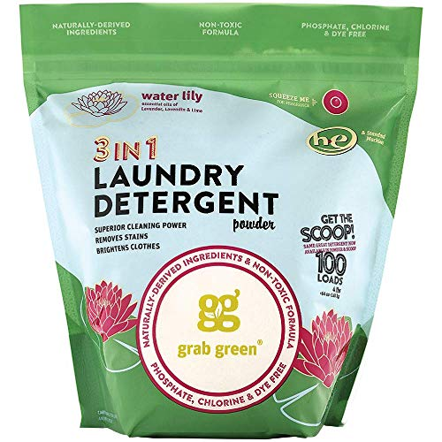 - Grab Green Natural 3-in-1 Laundry Detergent Powder, Water Lily, 100 Loads