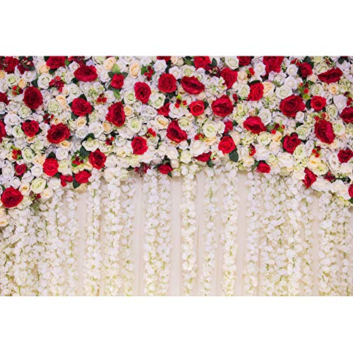 AOFOTO 9x6ft Girl Newborn Baby Photography Backdrops Red White Roses Flowers Wall Wedding Shower Photo Background Cloth Kids Adutls Birde Portrait Photo Shoot Props Vinyl Wallpaper