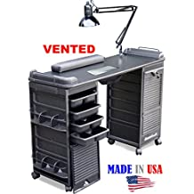 B607 VENTED Filtered Manicure Nail Table Double Lockable Cabinet Black Top by Dina Meri