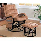 Coaster 650005 Casual Glider Rocker with Matching Ottoman in Brown by Coaster