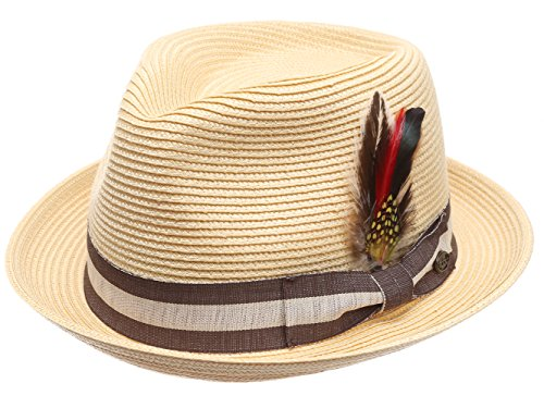 MIRMARU Men's Summer Lightweight Crushable Trilby Fedora hat with Removable Feather (F2692,Natural,SM)
