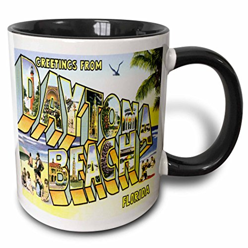 3dRose mug_169572_4 Greetings From Daytona Beach, Florida Bold Lettering with City Scenes Two Tone Black Mug, 11 oz, - Daytona Beach Outlet
