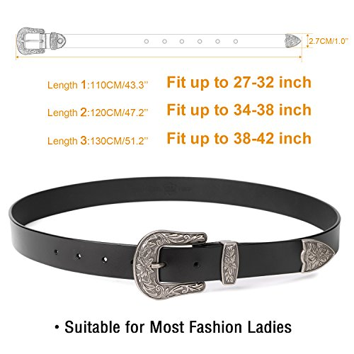 Western Designer Belts for Women,SUOSDEY Women's Black Leather Belts for Jeans